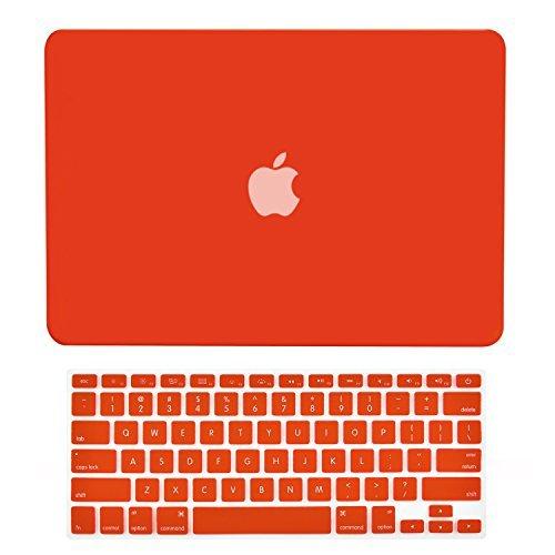 TOP CASE - Cover in gomma rigida 2 in 1 per MacBook Pro 13,3 '(13' Diagonally) con display Retina (Old Gen. 2012-2015) Modello: A1425 e A1502 e cover per tastiera - Rosso
