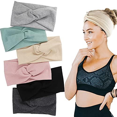 6 Stück Stirnband Haarband Damen Elastische Weich Verdreht Stirnband Kopftuch Kopfband mit Schleife aus Baumwolle Knoten Haarbänder