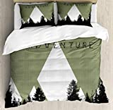 Ambesonne Adventure Duvet Cover Set, Forest with Halftone Effect Hipster Typography Camping in Mountains, Decorative 3 Piece Bedding Set with 2 Pillow Shams, Queen Size, Army Green