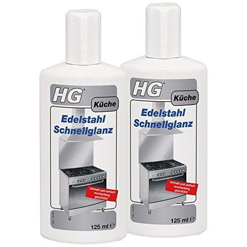 HG 2 unidades de brillo rápido de acero inoxidable (2 x 125 ml) – Limpiador eficaz para acero inoxidable – Para un brillo impecable con efecto protector.