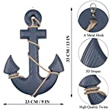 Fangoo 2 Pack 28 CM Steuerrad mit Holz und 33CM Anker Holz Steuerrad mit Seil Nautical Boat Wanddeko Maritime Deko Tür hängen Ornament - 3