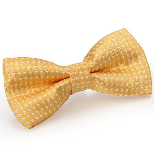 JewelryWe Kinder Fliege Schleife Krawatte Binder Schlips Querbinder Bow Tie Punkte Polka Dot Verstellbar für Hochzeit Silvester Business Smoking Gelb