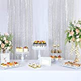 KNGKILQN Silver Sequin Backdrop Curtain - 2 Panels 2.5x8FT Glitter Silver Sequin Curtains Sparkle Birthday Party Wedding Backdrop Wedding Photo Background