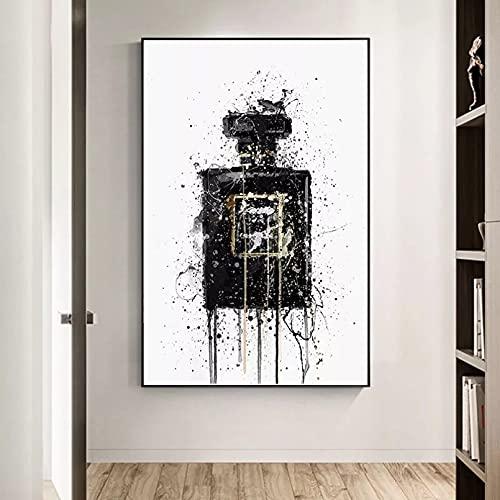 Impresiones en lienzo Arte abstracto moderno botella de Perfume negro pinturas en lienzo carteles e impresiones Cuadros cuadro de arte de pared para la decoración del hogar de la sala de estar