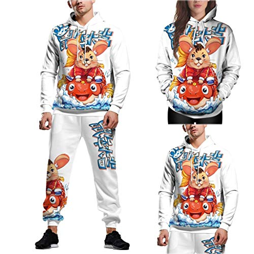 Dorical Conjunto de pantalón de Sudadera de Manga Larga con Blusa con Capucha Impresa en 3D de la Nueva Pareja 1PC Top + 1PC Pantalones Navidad Suéter Tejido Ugly Christmas Sweater Unisex