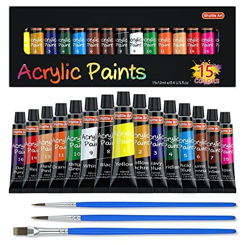 Acrylic Paint Set, Shuttle Art 15 x 12ml Tubes Artist Quality Non Toxic Rich...