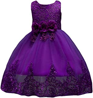 LvRao Girls Flower Bow Tie Princess Party Dress Tulle Wedding Bridesmaid Lace Dresses