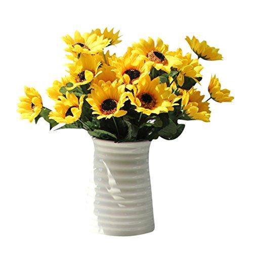 YCANK Ramo de flores artificiales de seda, flores de girasol, ramo para el hogar, decoración de jardín, 14 cabezas falsas
