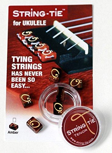 TSTUA TENOR String-Tie Tailpiece BridgeBeads Set for Ukulele, AMBER Color Bridge Beads.