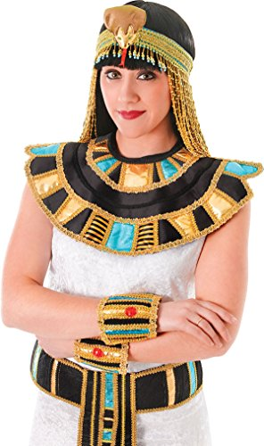 Queen Cleopatra Lady Fancy Dress Egyptian Necklace Roman Gold Collar Outfit Uk