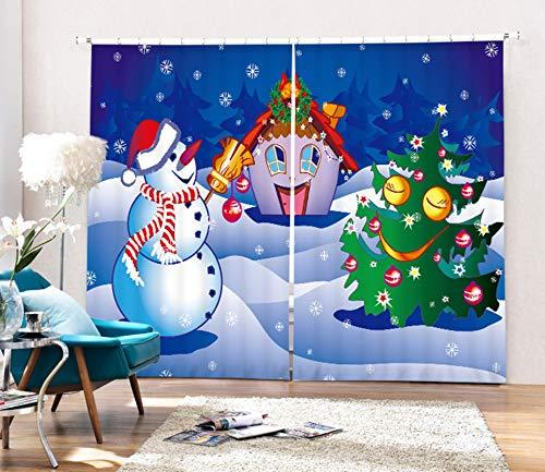 AmDxD Cortinas opacas de poliéster, 2 paneles, para dormitorio, muñeco de nieve, árbol de Navidad, decoración, blanco, verde, 200 cm de ancho x 54 cm de alto