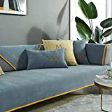 ENLAZY Cojín de sofá de Chenilla Cojín de sofá Universal Reclinable Reposabrazos Funda de Respaldo Protector de Muebles seccional Antideslizante A Prueba de Mascotas,Blue Gray,90 * 90