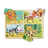 Melissa & Doug - Natural Play - Puzzle de madera: Formas de animales (Cuatro puzzles de animales de cuatro piezas cada uno)