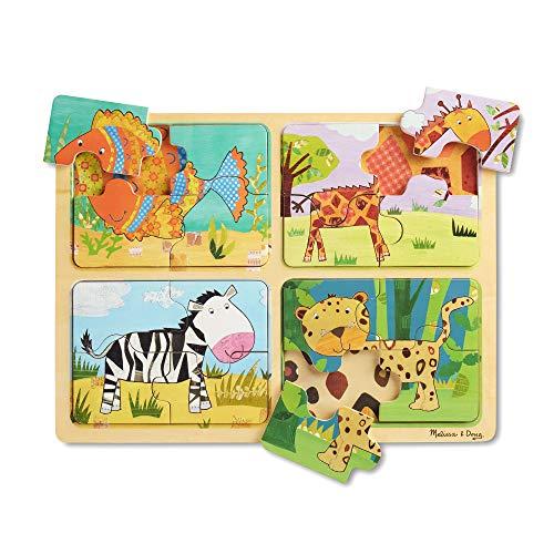 Melissa & Doug Legno, Quattro Puzzle da 4 Pezzi, Tema Animali: Pesce, Giraffa, Zebra e Ghepardo, per Bambini 2+ Anni, Multicolore, 41362