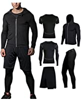 BUYJYA 5Pcs Men's Compression Top Pants Long Sleeve Fitness Suit Workout Set (Black, XL)