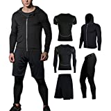 BUYJYA 5Pcs Compression Jacket Pants Shirt Top Long Sleeve Men's Fitness Suit(Black, M)