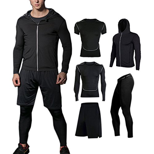 BUYJYA 5Pcs Men's Fitness Suit W...