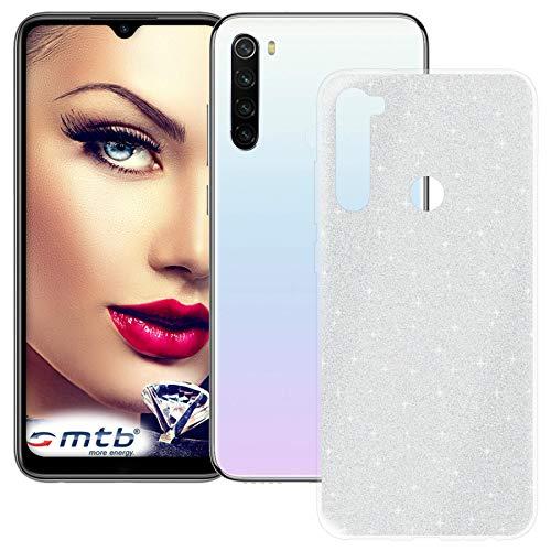 mtb more energy® Funda TPU Shine para Xiaomi Redmi Note 8T (6.3'') - Plata - Efecto del Brillo - Flexible - Case Cover Carcasa Estuche