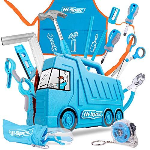 Hi-Spec 17 tlg. Kinder Werkzeugset mit LKW Box in blau, Kinderschürze mit Taschen, Schutzbrille, Wasserwaage, kleinen Handwerkzeugen und Sicherheitsschere DIY Kinderwerkzeugset