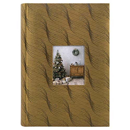Golden State Art, Wedding Family Baby Holiday Photo Album Christmas, Vacation, Anniversary Photography Book for 300 4x6 Pictures Pockets with Memo, 3 Per Page Large Capacity Gold Fabric