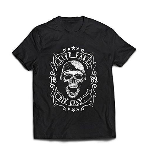 lepni.me Camisetas Hombre Viva rápido - muera último - Citas de Paseo en Bicicleta, Ropa de Motocicleta, Encanta Viajar, Gran Regalo para el Motorista (Large Negro Multicolor)