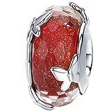 Ciondolo in vetro di Murano e argento Sterling per braccialetti Pandora e Argento, colore: Ciondolo a forma di farfalla rossa., cod. C1154