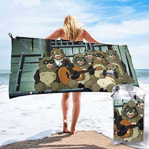 AOOEDM Pom Poko Toalla de baño de secado rápido Microfibra Suave y esponjosa Toalla de playa Se puede utilizar como camping Yoga Gimnasio Piscina Baño Silla de playa Senderismo Toalla de baño Secado r