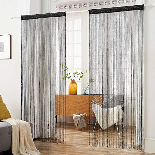 HSYLYM String Curtain with Sequins Sparkle Polyester,Perfect for Room Decoration and Background,Black,100x200cm(39x78inch)