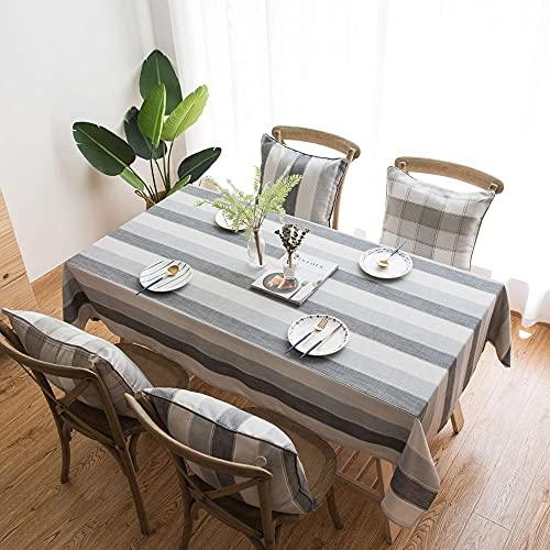Mantel a Rayas Gris Mesa de Comedor Juego de Mesa de Centro Muebles de Cocina Decoración Paño de Cubierta Antipolvo W 140x240cm