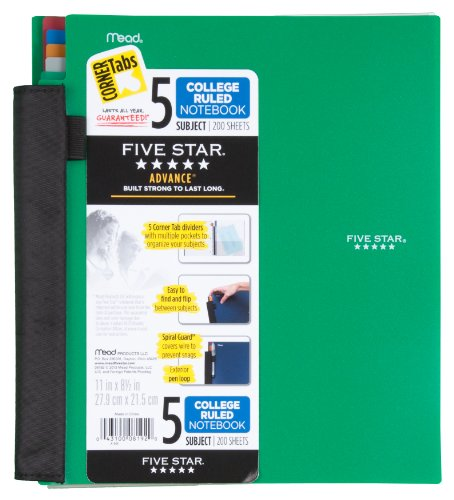 Five Star Notebook, 5-Subject, College Ruled, 200 Sheets, 8-1/2 x 11 Inches, Assorted (8192) Photo #6