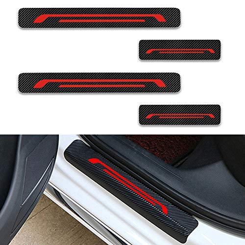 Para KA Focus Mondeo Ranger Raptor Fiesta Decoración Pegatina Para Estribos,Protección de pedal de umbral,Faldones laterales fibra de carbono,Evitar el desgaste 4Pieza Rojo