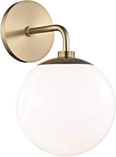 Mitzi H105101-AGB Stella - One Light Wall Sconce, Aged Brass Finish with White Glass