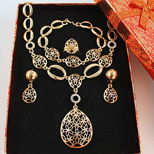 Vintage Clear Crystal Gold Color African Bridal Costume Jewelry Sets Nigerian Wedding Water Drop Necklace Earrings Set set add box