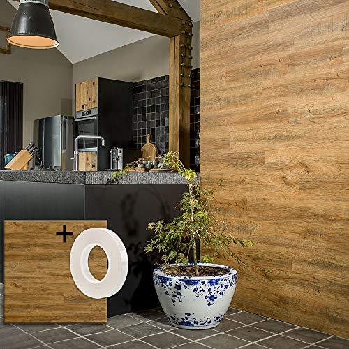 Lame PVC Adhésive Murale + Ruban autocollant | 15 planches : 2,09 m² de Lambris Mural Effet Bois Chêne rouille | Mur Imitation Bois Revêtement Mural Vinyle Bois | WallArt
