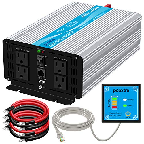 pooxtra 2000W Pure Sine Wave Power Inverter 12V to 110V 4000W Peak Power Converter with 4 AC Outlets and 2.1A USB Port & Remote Controller for RV Trucks Boats and Emergency