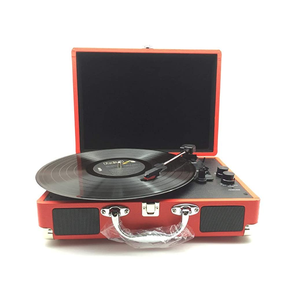同僚登録デッドブルートゥースの携帯用ノスタルジックなレトロの蓄音機のビニールレコード機械記録プレーヤーのビニールのビンテージスーツケース ステレオスピーカー (色 : 赤, サイズ : Free size)