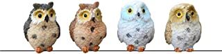 X Hot Popcorn Set of 4 Owls Figurine Statues Colorful Owl Figurines Set Decor Collectible Sculptures