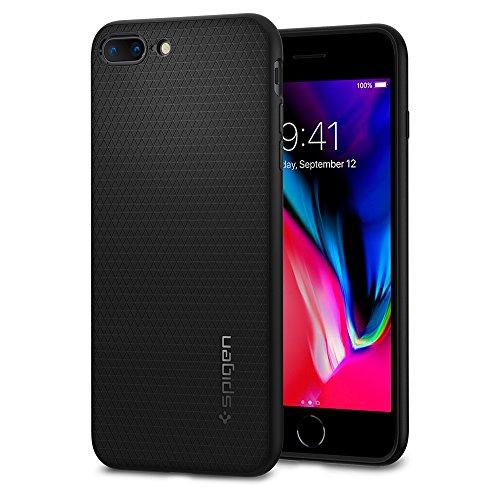 【Spigen】 iPhone 7 Plus ケース, リキッド・アーマー  米軍軍事規格 ソフト TPU  アイフォン 7 プラス 用 耐衝撃カバー (iPhone7 Plus, ブラック)