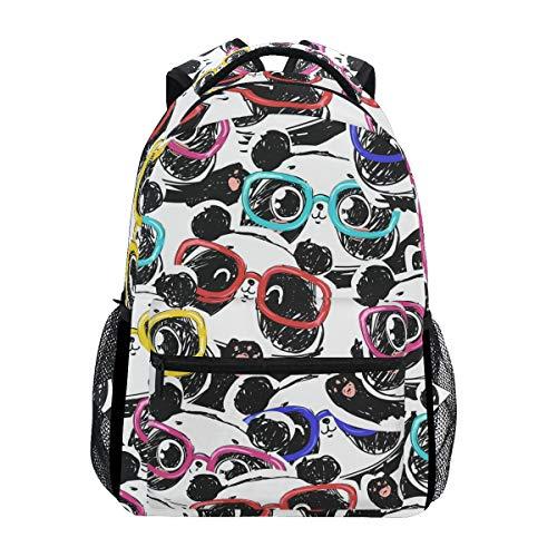 Toprint Cute Animal Panda Colorful Glasses Backpack Trave Shoulder Bag Bookbag Daypack