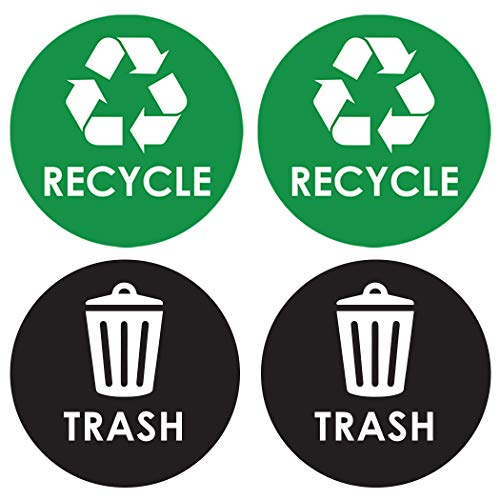 Recycle Sticker Trash Can Decal  6quot Large Recycling Vinyl  4 Pack