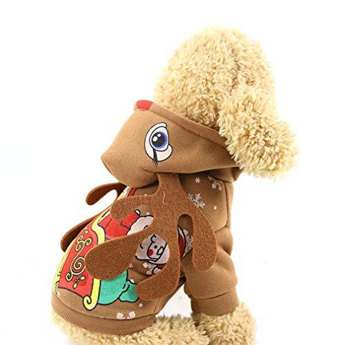 YLWL Cane Vestiti di Natale Maglione Felpe con Cappuccio per Cani Elk Costume Winter Halloween Costume Marrone S