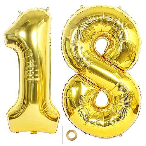 Huture 2 Luftballons Zahl 18 Figuren Aufblasbar Helium Folienballon Große Folienmylar Ballons Riesen Gold Ballons 40 Zoll Luftballons Zahl für Geburtstag Party Dekoration Abschlussball XXL 100cm