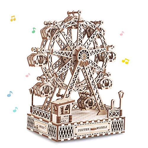 N+A Maquette en Bois a Construire, Grande Roue avec Musique, Puzzle 3D Bois, Jeu de Construction en Bois Adulte, Cadeaux pour Garçons Filles Ados Hommes et Femmes