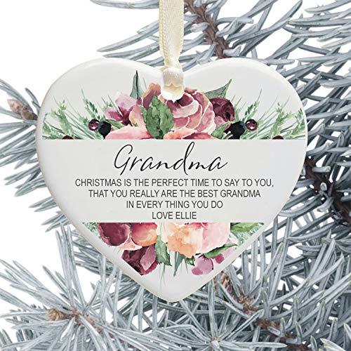 Leoner22art Weihnachtsbaum-Dekoration, Gedicht für Oma, personalisierbar, Geschenk von Enkelkindern