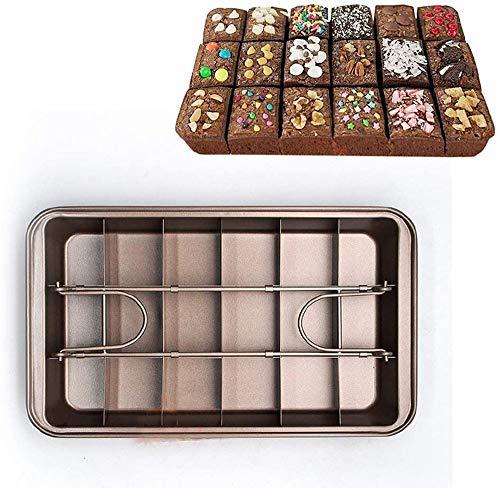 JUNSHUO puszka na brownie z dzielnikami, profesjonalna forma do ciasta czekoladowego, nieprzywierająca kwadratowa patelnia na ciasto/wstępnie wycięta 18 wnęk, do pieczenia ciasta pizzy Brownie, pieczenia, brązowa (31,5 * 20,5 * 5,7 cm)
