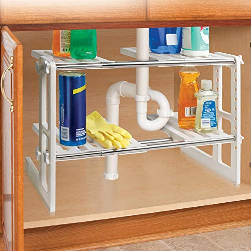 IdeaWorks Sink Shelves, 17.64'X 12'X 16' Expand to 29', White
