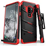 ZIZO Bolt Series for Samsung Galaxy S9 Plus Case Military Grade Drop Tested with Tempered Glass Screen Protector Holster Black RED
