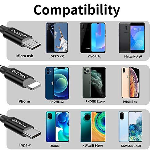 Multi USB Kabel,GIANAC [1.5M] 3 in 1 Nylon Mehrfach Universal Ladekabel iP Micro USB Typ C für Phone, Android Galaxy, Huawei, Mate20, Honor View 10, Nexus, HTC,Motorola,Nokia,LG, Sony, PS4.