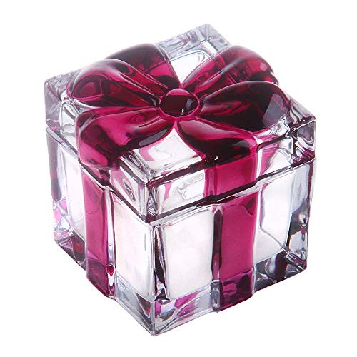 Vencer Square Crystal Glass Sugar Bowl With Bowknot Lid, Storage Box Wedding Candy Cookies Seasoning Food Tea and Food Storage Tank, Mother's Day Gift