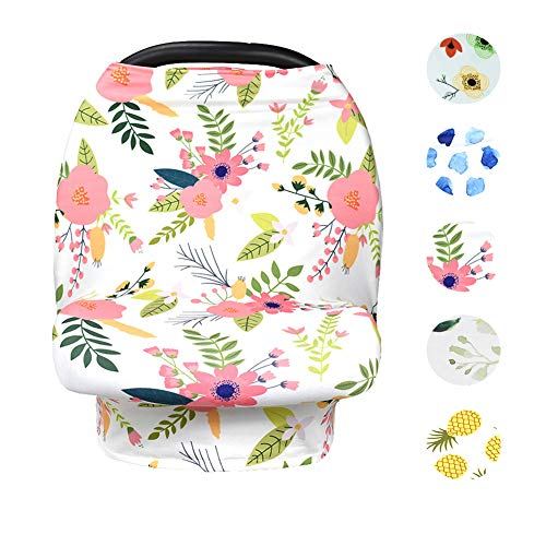 Find Discount Baby Nursing Cover Up Breastfeeding Covers Stroller Scarf Floral (White-Pink)